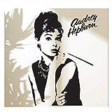 Diosa de la moda Audrey Hepburn Tatuajes de pared Adhesivos Decoración para el hogar Maquillaje Audrey Adhesivo de vinilo extraíble Sala de estar Mural 120x37cm