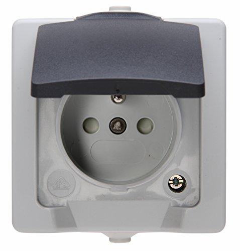 Kopp 107956008 Mitten-Schutzkontakt-Steckdose mit Deckel und erhöhtem Berührungsschutz AP-FR Nautic grau