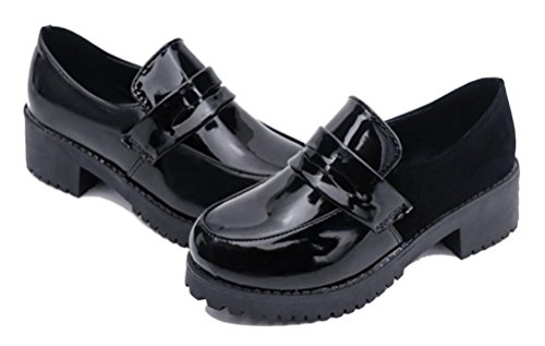 ACE SHOCK Women's Girl's Lolita Low Top Japanese Students Maid Uniform Dress Shoes (8) Black