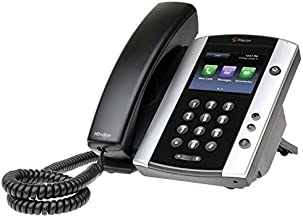 """Polycom VVX500 Skype Business Media Phone - 2200-44500-019 (3.5"""" Touchscreen, 12-line PoE, Power Adapter Not Included) (Renewed)"""