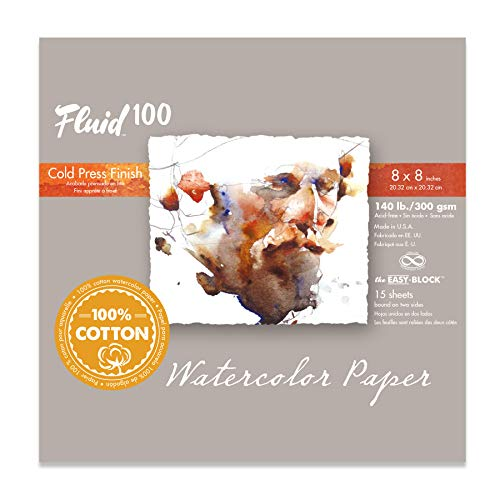 Fluid 100 Watercolor Paper 811210 140LB 100% Cotton Cold Press 8 x 8 Block, 15 Sheets