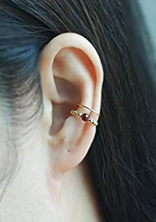 14K Yellow Gold Filled Double Band Ear Cuff with Gem stone,No Piercing Cartilage Ear Cuff, Ear Jacket, Ear Wrap,Fake conch piercing,boho, Price per One Item