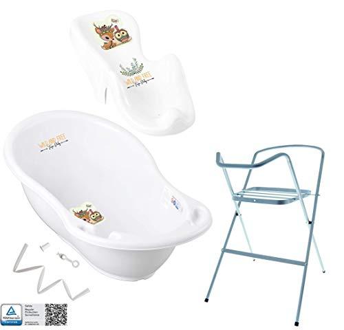 Tega Baby ® Baby Badewanne mit Gestell und Verschiedene Sets mit Babybadewannen + Ständer + Abfluss + Badewannensitz 0-12 Monate | ergonomisch Neugeborene, Motiv:Hirsch - weiß, Set:4 Set