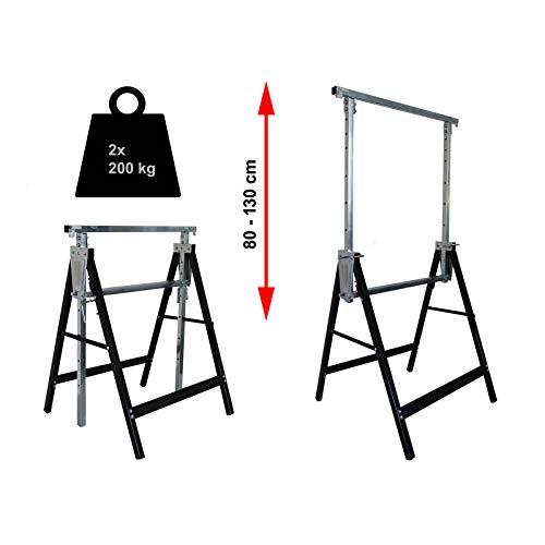 2x Gerüstbock bis 400 kg/Paar Klappbock Gerüst Unterstellbock Stützbock höhenverstellbar von 80-130cm