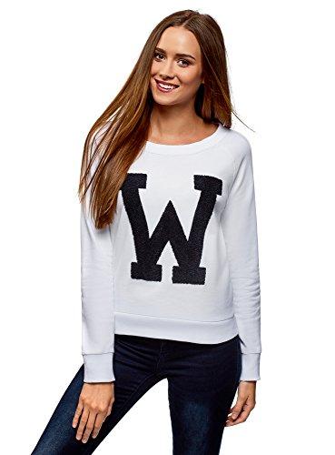 oodji Ultra Mujer Jersey con Dibujo Grande y Cuello Redondo, Blanco, ES 44 / XL