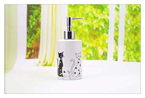 Tangrong Vloeibare zeep Container, Nordic White Keramiek Schilderen van de Kunst Katten Shampoo Hand Sanitizer fles, moderne eenvoud Rapid extrusie Refillable Eco Resin zeepdispenser, 400ml