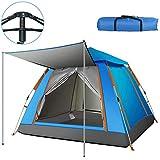 テント 3-4人用 ワンタッチテント UVカットコーティング採用 キャンプ 組立簡単 防災 防水 風に強い 高耐久087 (青-A2)