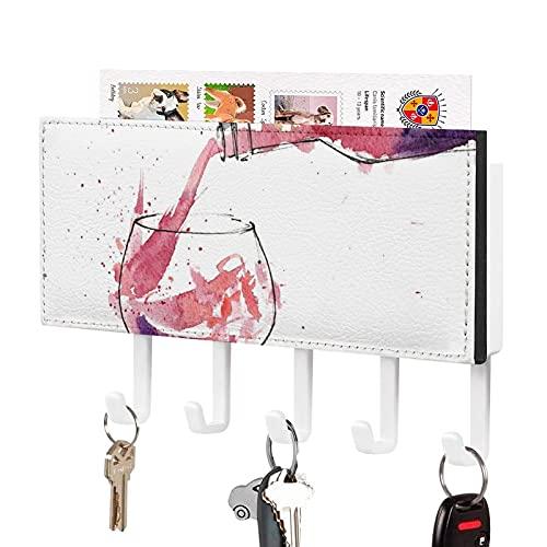 Soporte para llaves,Gancho para llaves montado en la pared,Una botella de vino tinto se está salpicando en un vaso,Organizador de llaves decorativo con 5 ganchos
