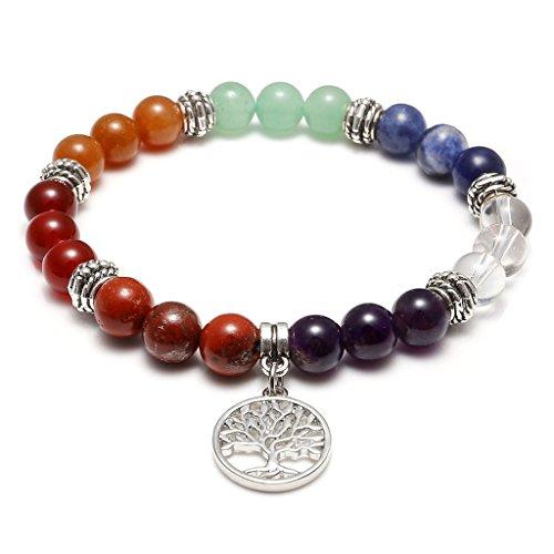 Jovivi 7 Chakras Yoga Meditation Healing Balancing Round Stone Beads Stretch Bracelet with Tree of Life Charm
