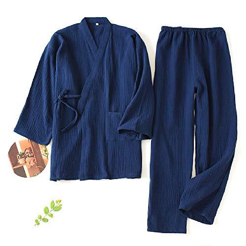 nobrand Herren und Damen Pyjama aus 100{801bcf2aac1d7514b08a5a488b7150e9e682fb11a5e2e75a6a8671bb90a029ba} Baumwolle in Übergröße Lose Bademäntel Kimono mit Dreiviertel-Nachtwäsche, Paar Nachtwäsche