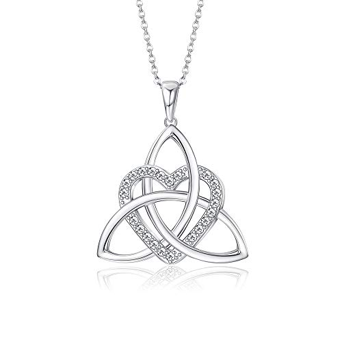 Sllaiss 925 Sterling Silver Irish Celtic Knot Necklace for Women Set with Swarovski Zirconia Infinite Love Heart Pendant Birthday Gift,17' Cable Chain