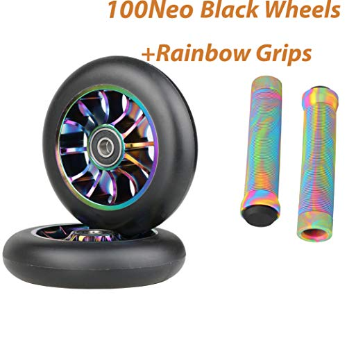 100mm Scooter Wheels - Pro Scooter Wheels 100mm Pair - Neo Oil Slick 100mm Metal Scooter Wheels Replacement - Pro Scooter Wheels 100mm - 24mm x 100mm - Bearings Installed - Scooter Wheels for Kids