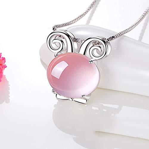 Collares Constelación del zodiaco collar año de la cabra clavícula cadena de la joyería collar colgante de cristal color de rosa, regalos de cumpleaños for las mujeres, 18' Regalos cumpleaños para Esp