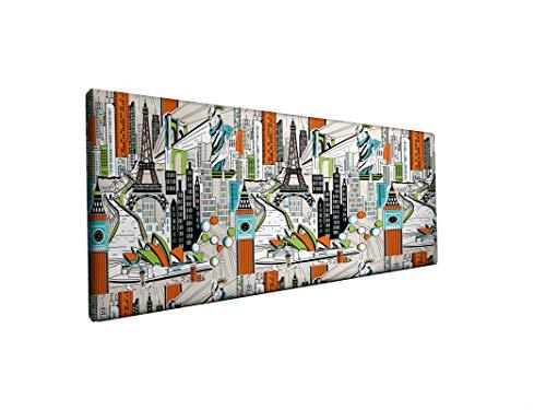 SUENOSZZZ-ESPECIALISTAS DEL DESCANSO Cabecero tapizado para Camas de 135 (145 x 57 cm) en Tela Motivo Estampado City