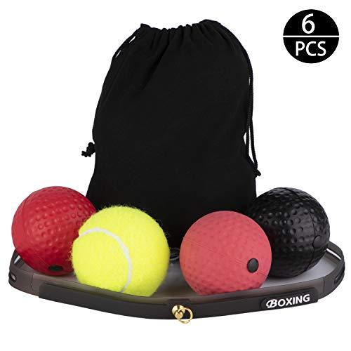 Dioxide Reflex Boxen Ball mit Stirnband Reflexball Speed Boxing Kopf Stirn - Fight Training Tennisball Boxtraining Boxball Speedball - Dekompression Kopfband Trainingsball Fightball Sport