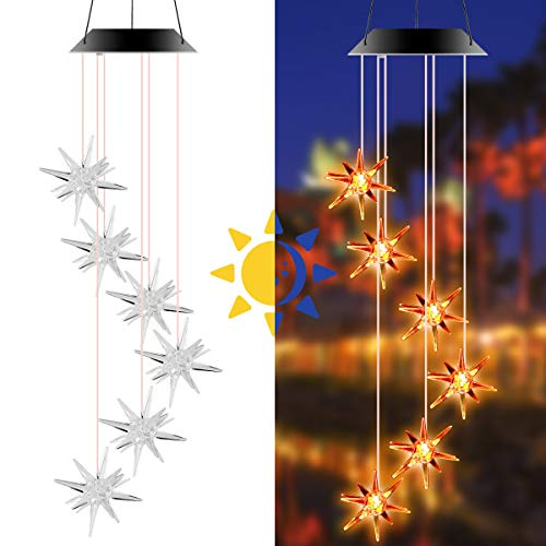 Camidy Solar Windspiel, Hängende Seeigel Geformte Windspiellampe, wasserdichte LED Farbwechsel Spirale Spinner Windbell Licht Geschenk für zu Hause Nachtbalkon Garten Dekor