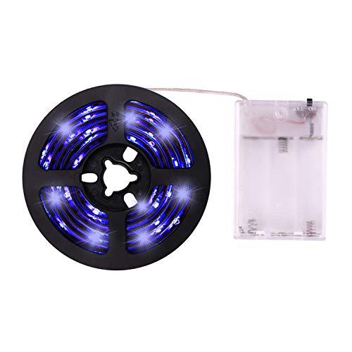 UV Light Strip - 2019 New Design Battery Operated LED Black Light Strip Kit with 6.6FT 2M SMD 3528 IP65 Waterproof Super Bright LED Strip Lights, Battery Case