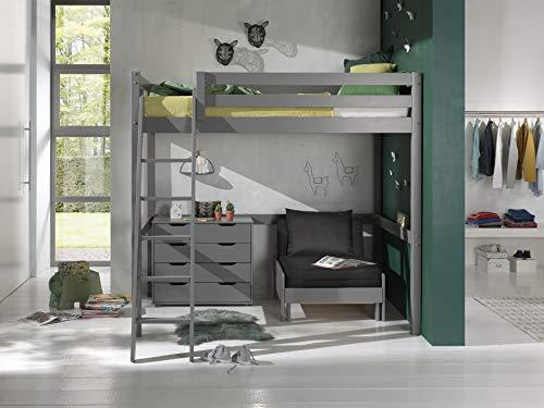 Vipack Cama alta con superficie de descanso de 140 x 200 cm, incluye cama y cajones, madera de pino maciza, color gris lacado
