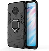 Prime Retail Back Cover Kickstand View Ring Holder Armor Case Cover for Vivo S1 Pro (Black)