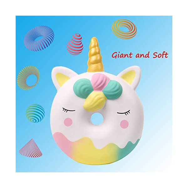 Anboor 13 Inches Squishies Jumbo Unicorn Donut Kawaii Soft Slow Rising Scented Giant Doughnut Squishies Stress Relief Kid Toys (White) 5