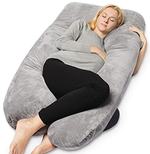 QUEEN ROSE Pregnancy Pillow, U Shaped Maternity Pillow for Sleeping, Full Body Pillows for Pregnant Women with Removable Cover, Gray