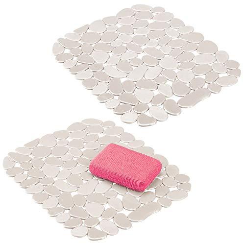 mDesign 2er-Set Spülbeckeneinlage aus PVC – Abtropfmatte im Kieselstein-Look zum Schutz gegen Kratzer – schnelltrocknende Schutzmatte für Spülbecken – cremefarben/beige