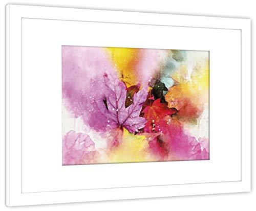 GaviaStore Art Prints - con Marco 70x50 cm - Cuadros Impresiones Pintura Cartel Foto Mueble Art hogar impresión decoración casa Sala Poster Cuadro Imagen Enmarcado Wall Art Picture (Hojas B)