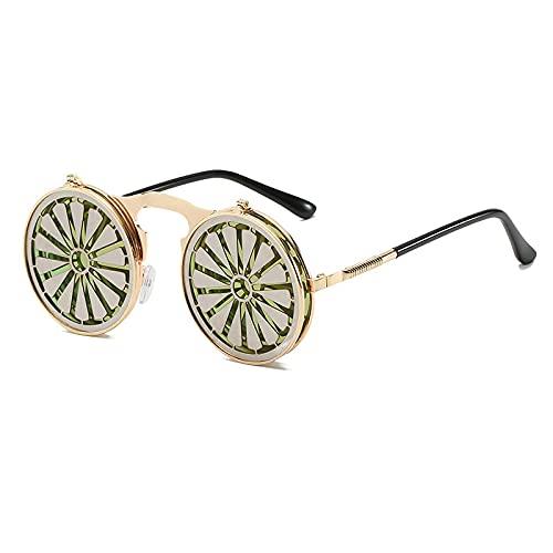 Gafas De Sol Gafas De Sol Steampunk Redondas De Metal para Mujer, Gafas De Moda para Hombre, Montura Abatible De Molino De Viento, Gafas De Sol Vintage Divertidas C2Gold-Pink