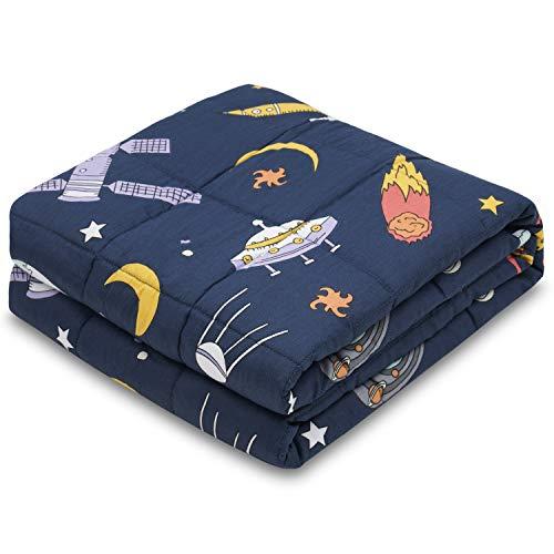 RECYCO Couverture lestée pour enfant - 2,3 kg - 90 x 120 cm - En coton - Avec perles de verre - Aide au sommeil - Soulage le stress - Pour les enfants et les adolescents (aérospatiale)