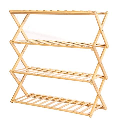 Kuingbhn Zapatero de 4 capas estante de almacenamiento de zapatos plegable bambú zapatero para el hogar dormitorio para la entrada sala de estar