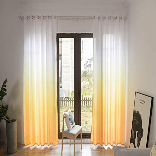 HERCHR Tenda Oscurante per Finestra, Tende per Tende con Gommino Foderato termicamente per Soggiorno, (39 x 106 Pollici) 1 Pannello(Yellow)