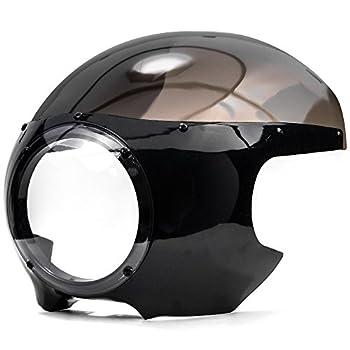 Krator JBM-6003-2 Motorcycle 5-3/4  Headlight Fairing Screen Black & Smoke Retro Cafe Racer Drag