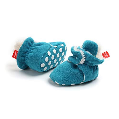 Botas de Niño Calcetín Invierno Soft Sole Crib Raya de Caliente Boots de Algodón para Bebés (6-12 Meses, Azul, Tamaño de Etiqueta 12)