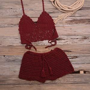 XINTIAN Conjunto de bikini de ganchillo con borla, tubo de punto de dos piezas, traje de baño push-up, traje de baño de playa, traje de baño (color: rojo vino, talla: XL)