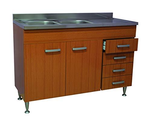 Mobile cucina teak 2 ante+cassettiera completo di lavello inox 120 sottolavello