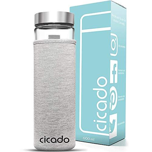 Cicado Glasflasche 600 ml | Verstärkter Boden und Auslaufsicher | Borosilikat + Isoliert | Trinkflasche Glas BPA-Frei | Wasser-Flasche für Sport, Yoga, Smoothies