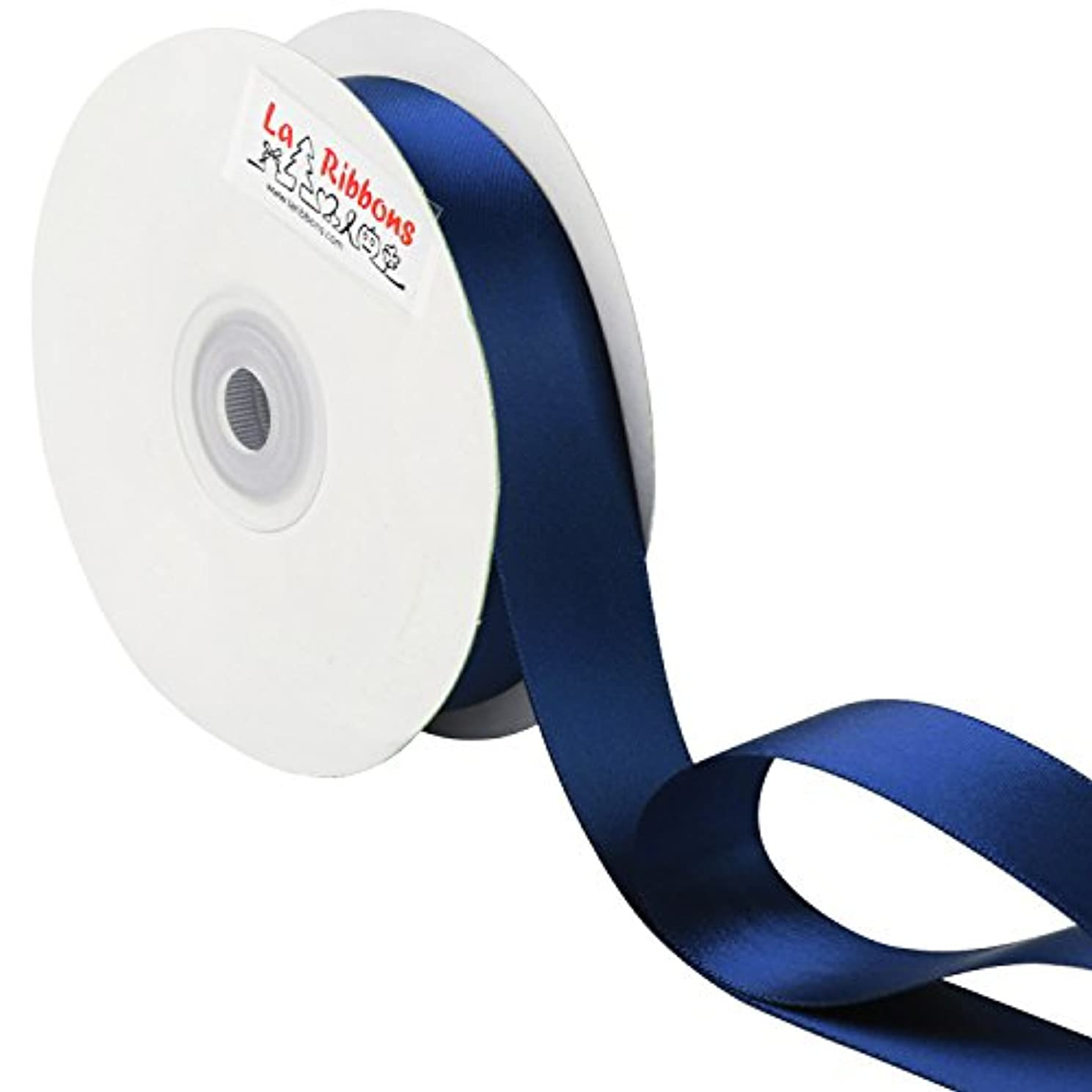 LaRibbons 1 inch Wide Double Face Satin Ribbon - 25 Yard (370-Navy)