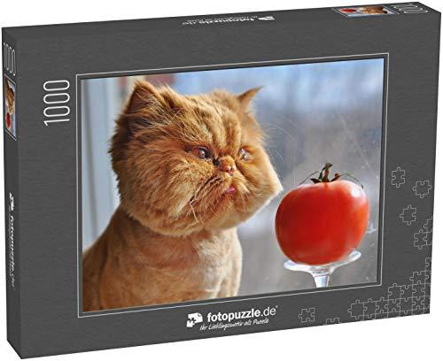 Puzzle 1000 Teile Lustige Katze und rote Tomate - Klassische Puzzle, 1000 / 200 / 2000 Teile, edle Motiv-Schachtel, Fotopuzzle-Kollektion 'Tiere 2'