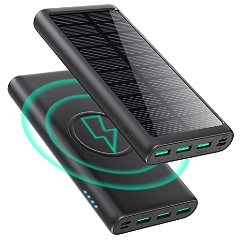 Wireless Portable Charger Power Bank 36800mAh, Solar Charger【Dual QC 4.0 PD 25W+15W Fast Wireless Charging】, IP65 External Battery Pack with 5 Output & 3 Input Compatible with iPhone, Samsung, iPad