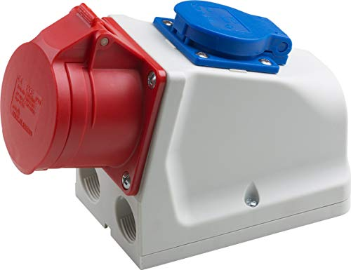 Meister CEE-Kombi-Steckdose - Aufputz - 5-polig - rot - 400 V - 16 A - Maximaler Kabelquerschnitt 6,0 mm² (flexible Adern) & 10,0 mm² (starre Adern) - IP44 Außenbereich / CEE-Wandsteckdose / 7424060