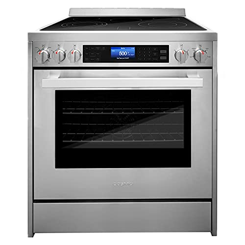Cosmo COS-305AERC Commercial-Style Electric Range with 4 Burners / 1 Warming Zone and 5 cu. ft. Capacity Oven with 7 Functions, Turbo True European...