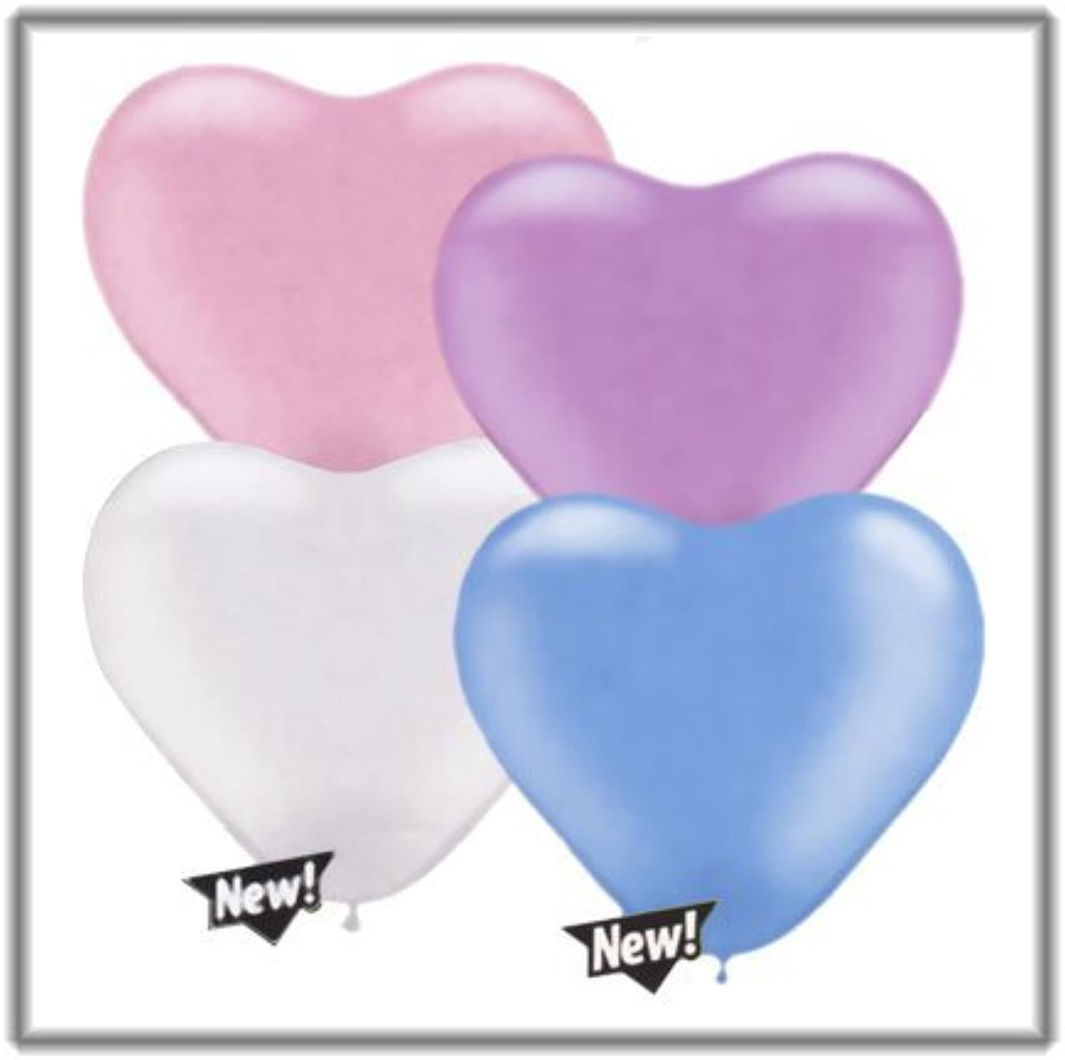 Qualatex 6  Heart Balloons, Pastel Pearl Assortment (bluee, Lavender, Pink, White) - Pack of 100