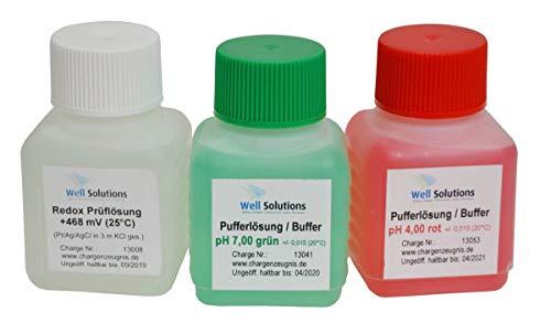 Well Solutions Pufferlösung Set/KIT bestehend aus je 50 ml pH 4, pH 7, Redox 468mV / zum Kalibrieren der Elektoden/für alle Dosieranlagen