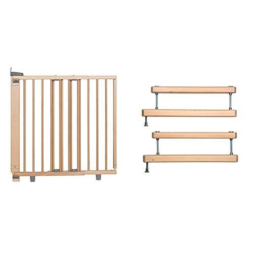 Geuther Treppenschutzgitter 2733+ natur und zweite 2725ZK+ natur zur optionalen Montage an zwei Geländerseiten