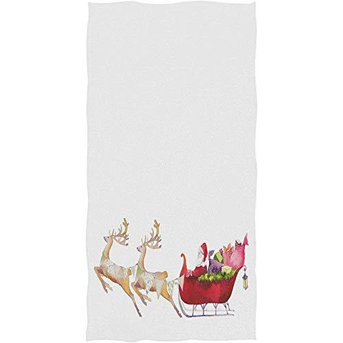 Strandhanddoek schattig kerstman sturen cadeau door herten slee zeer absorberend bad handdoek decoratieve 80x130cm patroon zachte multifunctionele strandhanddoek