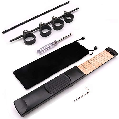 SISHUINIANHUA Bewegliche Taschen-Gitarre 6 Saiten Modell aus Holz und Finger Span Trainer Praxis 6 Strings Guitar Trainer-Werkzeug-Gerät