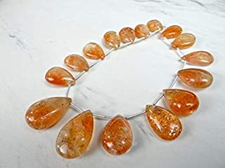 Jewel Beads Natural Beautiful jewellery orange Sunstone smooth large pear briolettes/18x11-28x18mm/4.5 inches longCode:- BB-48817