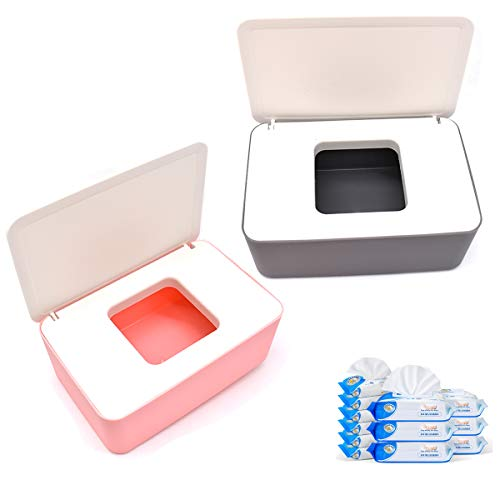 Caja para Toallitas Húmedas, Jicyor 2pcs Caja de Toallitas con Blanco Tapa Sello Dispensador de Toallitas Humedas para Oficina Hogar(rosado+Blanco,gris+Blanco)