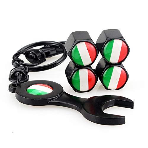 PT-Decors 4 stücke / 1 Satz Italien IT Flag Rad Reifen Ventilkappen Universal Auto Staubkappen Reifen Ventilschaftabdeckung + Diebstahlschutz Schwarzer Schlüsselanhänger für Auto/Motorrad/Fahrrad