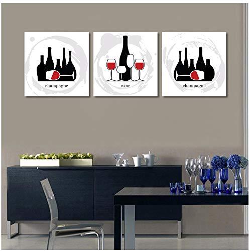 NFXOC Pintura sobre Lienzo Carteles Impresiones Arte de la Pared Botella de Vino Negro y Vidrio Decoración del hogar Fotos-11.8'x 11.8' (30x30cm) x3 Marcos
